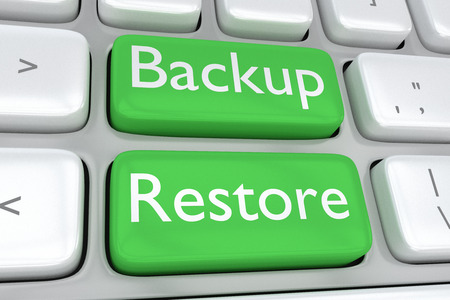 Render illustration of computer keyboard with the print Backup Restore on two adjacent green buttons Stock Photo