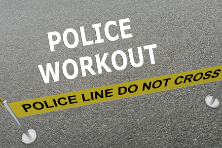 vigilante: Render illustration of Police Workout title on the ground in a police arena