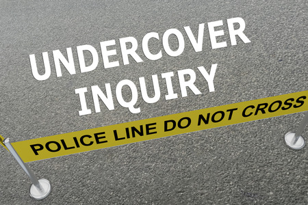 undercover agent: Render illustration of Undercover Inquiry title on the ground in a police arena
