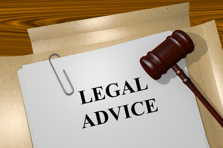 abogado: Render illustration of Legal Advice title on Legal Documents