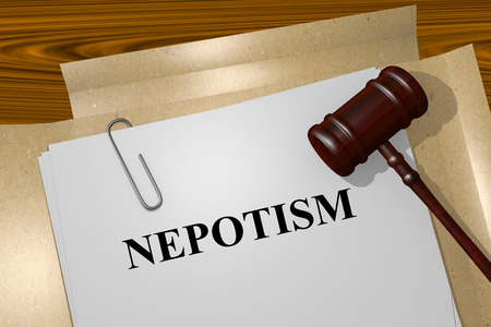 nepotism: Render illustration of Nepotism title on Legal Documents Stock Photo