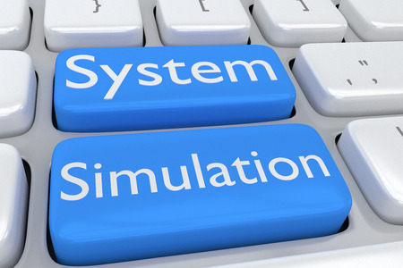 computer simulation: Render illustration of computer keyboard with the print System Simulation on two adjacent pale blue buttons
