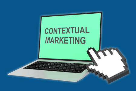 contextual: Render illustration of Contextual Marketing title with pointing hand icon pointing at the laptop screen.