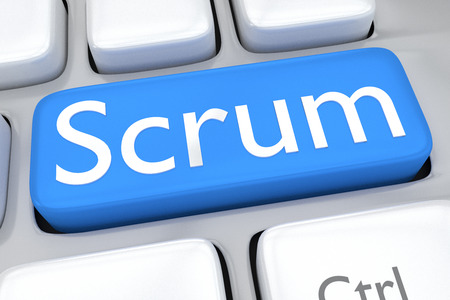 scrum: Render illustration of computer keyboard with the script Scrum on pale blue button Stock Photo