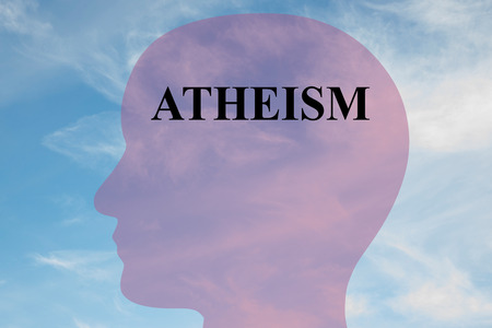 atheism: Render illustration of Atheism title on head silhouette, with cloudy sky as a background.