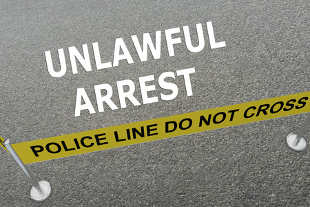 unlawful: Render illustration of Unlawful Arrest title on the ground in a police arena