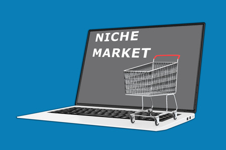 niche: Render illustration of Niche Market concept with a supermarket cart placed on the keyboard.