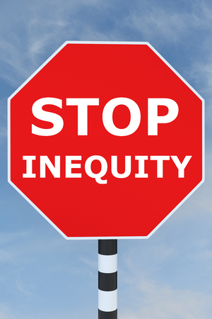 unjust: Render illustration of Stop Inequity title on road STOP sign Stock Photo