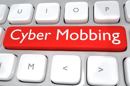 Render-Abbildung von Computer-Tastatur mit dem Druck Cyber ??Mobbing auf einem roten Knopf