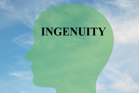 able to learn: Render illustration of Ingenuity title on head silhouette, with cloudy sky as a background