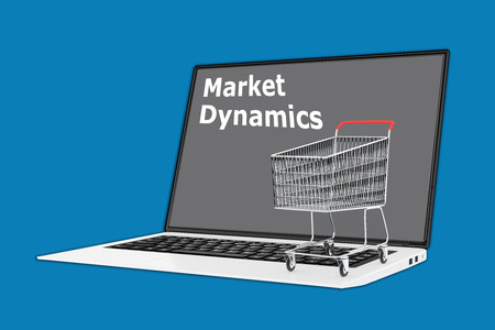Render illustration of Market Dynamics concept with a supermarket cart placed on the keyboard.