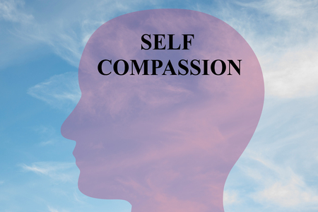 compassion: Render illustration of Self Compassion title on head silhouette, with cloudy sky as a background.