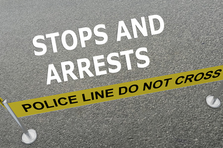 theft prevention: Render illustration of Stops and Arrests title on the ground in a police arena Stock Photo