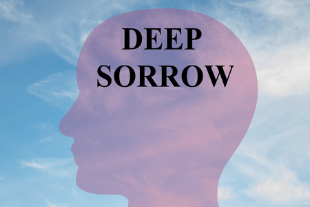 condemnation: Render illustration of Deep Sorrow title on head silhouette, with cloudy sky as a background. Stock Photo