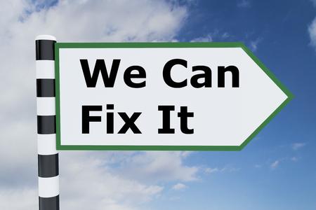 道路標識上の私たちすることができます修正それのタイトルのイラストをレンダリングします。回復の概念。