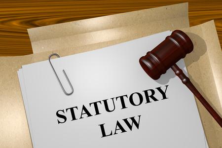 statutory: Render illustration of Statutory Law title on Legal Documents