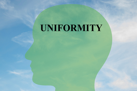 uniformity: Render illustration of UNIFORMITY title on head silhouette, with cloudy sky as a background. Human mentality concept.