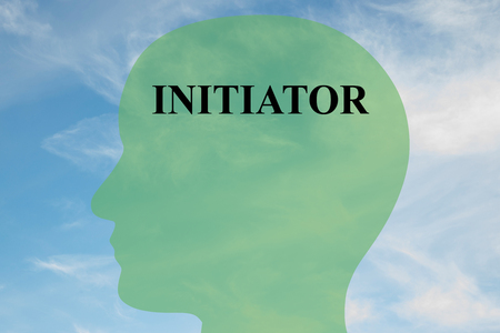 initiator: Render illustration of INITIATOR title on head silhouette, with cloudy sky as a background. Human mentality concept.