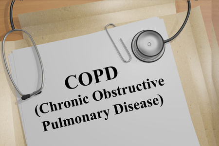emphysema: Render illustration of Copd (Chronic Obstructive Pulmonary Disease) script on medical documents