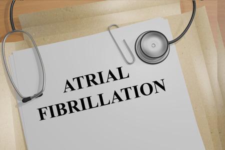 Render illustration of Atrial Fibrillation title on medical documents
