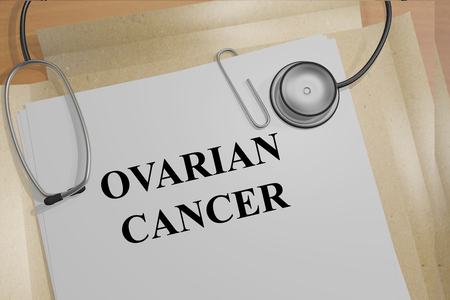 ovarian: Render illustration of Ovarian Cancer title on medical documents Stock Photo