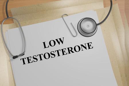 Render illustratie van een laag testosteron titel van medische bewijsstukken Stockfoto