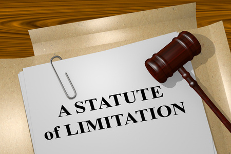 ruling: Render illustration of A Statute of Limitation title on Legal Documents. Legal concept. Stock Photo