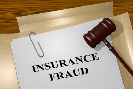 Render illustration of Insurance Fraud title on Legal Documents