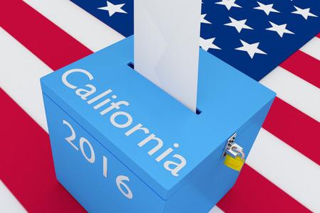 米国の旗の背景として、カリフォルニア、投票箱に 2016 タイトルのイラストをレンダリングします。選挙の概念。