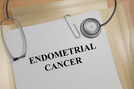 endometrial: Render illustration of Endometrial Cancer title on medical documents Stock Photo
