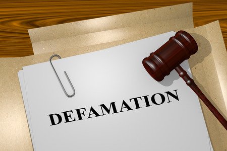 slur: Render illustration of Defamation title on Legal Documents Stock Photo