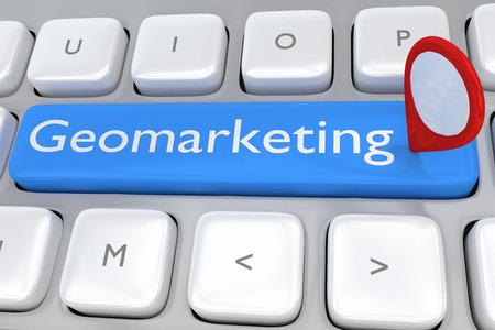 淡い青色のボタンのスクリプト Geomarketing コンセプトと場所アイコンとコンピューターのキーボードの図をレンダリングします。市場の場所の概念。