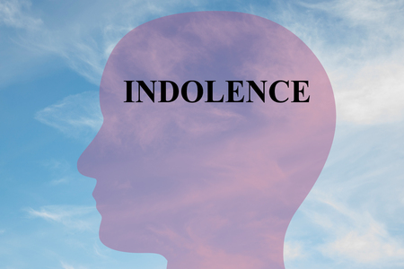 Render illustration of INDOLENCE title on head silhouette, with cloudy sky as a background. Human mentality concept.