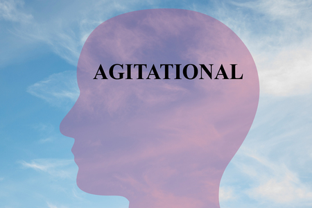 mentality: Render illustration of AGITATIONAL title on head silhouette, with cloudy sky as a background. Human mentality concept.