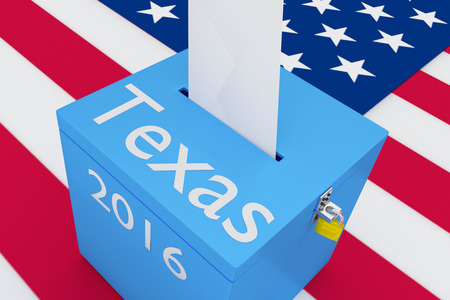 presidency: Render illustration of Texas, 2016 titles on ballot box, with US flag as a background.