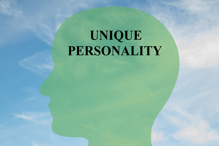 mentality: Render illustration of UNIQUE PERSONALITY title on head silhouette, with cloudy sky as a background. Human mentality concept.