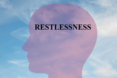 fidgety: Render illustration of RESTLESSNESS title on head silhouette, with cloudy sky as a background. Mental condition concept.