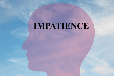 mentality: Render illustration of Impatience title on head silhouette, with cloudy sky as a background. Human mentality concept. Stock Photo