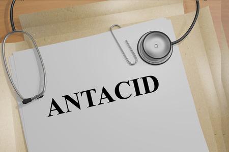 antacid: Render illustration of ANTACID title on medical documents. Medicine concept. Stock Photo