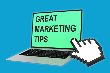 tax tips: Render illustration of GREAT MARKETING TIPS script with pointing hand icon pointing at the laptop screen. Marketing concept.