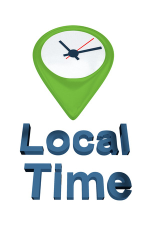 minute hand: Render illustration of Local Time script, with location icon containing a clock as a background. Time concept.