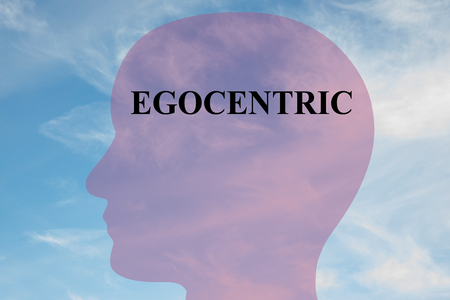 Render illustration of EGOCENTRIC script on head silhouette, with cloudy sky as a background. Human personality concept.