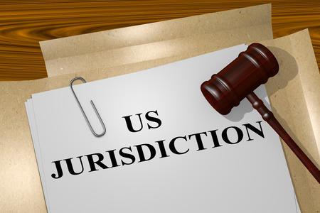 米国の司法権法的文書のタイトルのイラストをレンダリングします。法的概念。