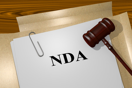 obligated: Render illustration of NDA title on Legal Documents Stock Photo