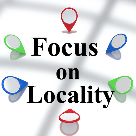 locality: Render illustration of Focus on Locality title surrounded by location markers. Locality concept.