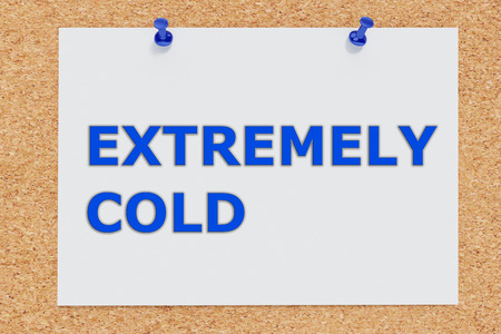 extremely: 3D illustration of illustration of Extremely Cold script on cork board