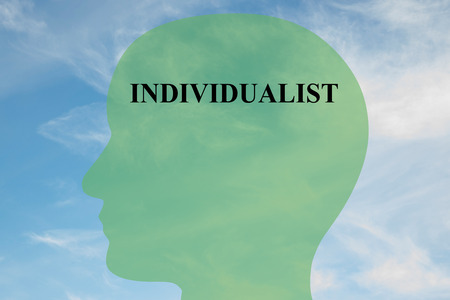 individualist: Render illustration of INDIVIDUALIST title on head silhouette, with cloudy sky as a background. Human mentality concept. Stock Photo