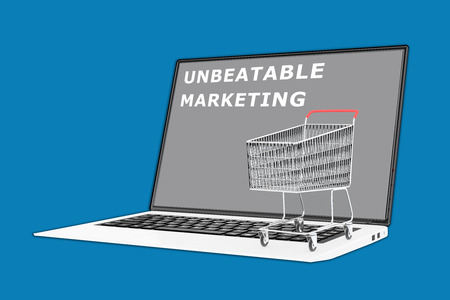 unbeatable: 3D illustration of UNBEATABLE MARKETING script with a supermarket cart placed on the keyboard. Marketing concept. Stock Photo