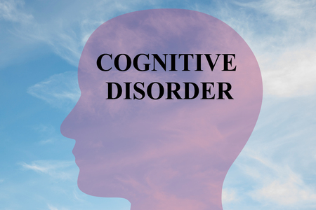 ocd: Render illustration of COGNITIVE DISORDER script on head silhouette, with cloudy sky as a background. Human mental concept. Stock Photo