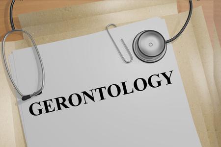 gerontology: Render illustration of Gerontology title on medical documents Stock Photo
